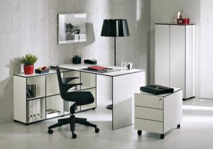Coco Büroeinrichtung – Schreibtisch, Regalsystem, Rollcontainer mit Schubladen